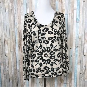 Rebecca Taylor S Leopard Silk Back Tee Shirt Top